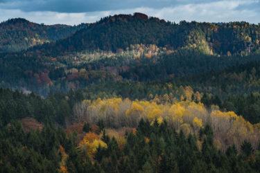 Herbstlicher Blick vom Kuhstall, Kirnitzschtal, Elbsandsteingebirge, Sächsische Schweiz, Sachsen