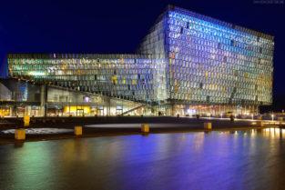 Harpa, Tónlistar bei Nacht, Konzerthalle und Konferenzhaus am Hafen, Innenstadt, Hauptstadt Reykjavik, Island, Europa