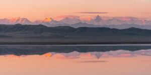 Kasachstan #20 - Panorama Spiegelung Khan Tengri und Tian Berge in Salzsee