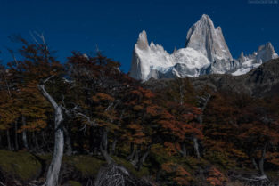 Patagonien: Fitz Roy im Mondlicht, Los Glaciares, Argentinien