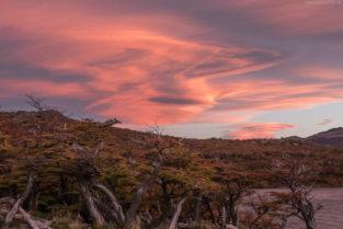 Patagonien: UFO Wolken (Lenticular Wolken) an der Laguna Capri, Los Glaciares, Argentinien