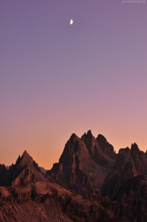 Dolomiten - Mond über Cadini-Massiv