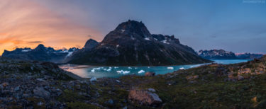 Grönland Landschaft: Blick in Fjord mit Eisbergen und Gletschern, Fjord Ikerasassuaqp, Aappilattoq, Südgrönland