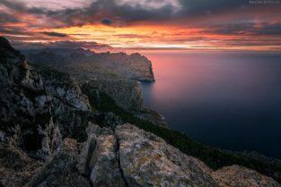 Mallorca, Cap de Formentor bei Sonnenuntergang