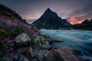 Grönland Landschaft Berge Fluss Sonnenuntergang
