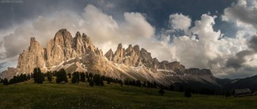 Dolomiten, Geislerspitzen bei Villnös von der Gschnagenhardt Alm