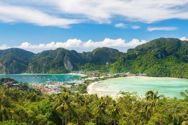 Blick auf Strände, Phi Phi Island, Thailand