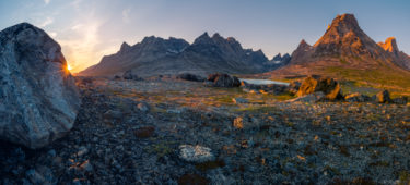 Grönländische Landschaft bei Sonnenuntergang, Grönland