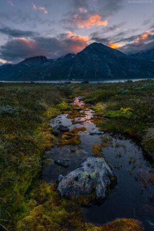 Grönland - Sonnenuntergang über Fjord