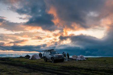 Kamtschatka Landschaft: Camping im NaturparkKlyuchevskoy