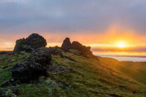 Kamtschatka Landschaft: Sonnenaufgang über Lavafeld im Hochland