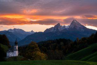Kirche Maria Gern mit Blick auf Watzmann Massiv, Berchtesgadener Land