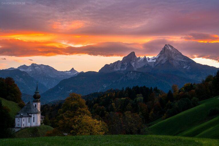 Deutschland - Kirche Maria Gern mit Watzmann, Berchtesgadener Land