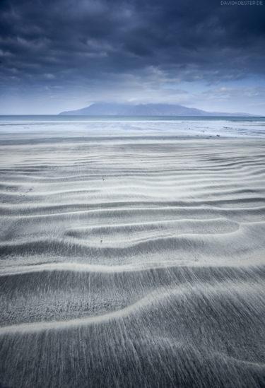 Isle of Rum from Laig bay, Isle of Eigg, Inner Hebrides, Scotland, Great Britain, United Kingdom