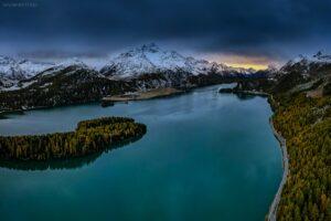 Schweiz - Luftbild Silser See, Engadin