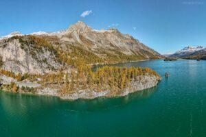 Schweiz -  Silser See mit Piz Materdel & Piz Lagrel, Engadin